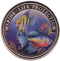 Защита морской среды. Монета 1 доллар. 1996 год, Либерия.