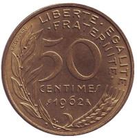 Монета 50 сантимов. 1962 год, Франция. (3 складки на воротнике).
