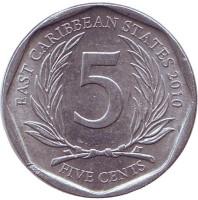Монета 5 центов. 2010 год, Восточно-Карибские государства.