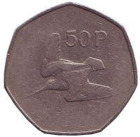 Вальдшнеп (Лесной кулик). Монета 50 пенсов. 1976 год, Ирландия.