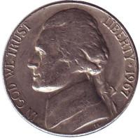 Джефферсон. Монтичелло. Монета 5 центов. 1967 год, США.