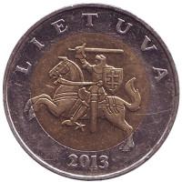 Рыцарь. Монета 5 литов, 2013 год, Литва. Из обращения.