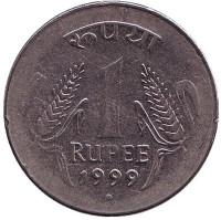"""Монета 1 рупия. 1999 год, Индия. (""""°"""" - Ноида)"""