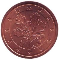 Монета 2 цента. 2004 год (F), Германия.