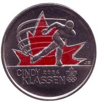 Синди Классен. Конькобежный спорт. Монета 25 центов. 2009 год, Канада. (Цветная)