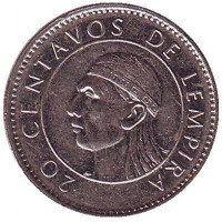 Монета 20 сентаво. 1994 год, Гондурас.