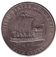 Корабль экспедиции Льюиса и Кларка. Монета 5 центов (P), 2004 год, США. Из обращения.