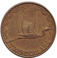 Белая цапля. Монета 2 доллара. 1998 год, Новая Зеландия.
