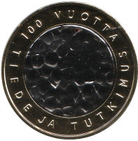 100 лет науке и исследованиям. Монета 5 евро. 2008 год, Финляндия.