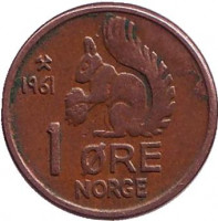 Белка. Монета 1 эре. 1961 год, Норвегия.