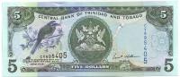 Банкнота 5 долларов. 2006 год, Тринидад и Тобаго.