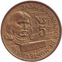 250 лет со дня основания Монтевидео. Монета 5 новых песо. 1976 год, Уругвай.