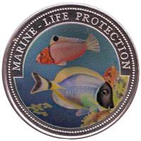 Защита морской среды. Монета 1 доллар. 1997 год, Либерия.