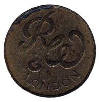 Игровой жетон британской компании Ruffler & Walker. RW. London. (Диаметр 18 мм)