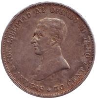 Монета 50 сентесимо. 1917 год, Уругвай.