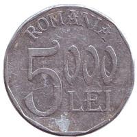 Монета 5000 лей. 2001 год, Румыния.