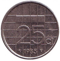 Монета 25 центов. 1985 год, Нидерланды.