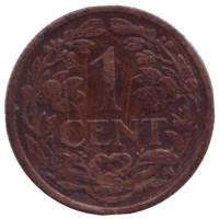 Монета 1 цент. 1914 год, Нидерланды.