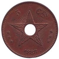 Монета 5 сантимов. 1888 год, Бельгийское Конго.