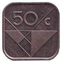 Монета 50 центов, 1991 год, Аруба.