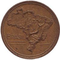 Карта Бразилии. Монета 1 крузейро. 1951 год, Бразилия.