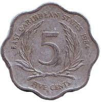 Монета 5 центов. 1984 год, Восточно-Карибские государства.