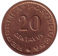 Монета 20 сентаво. 1970 год, Португальский Тимор.