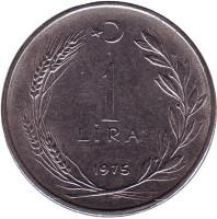 Монета 1 лира. 1975 год, Турция.