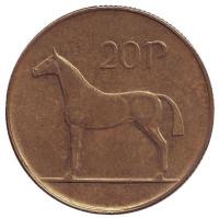 Лошадь. Монета 20 пенсов. 1994 год, Ирландия.