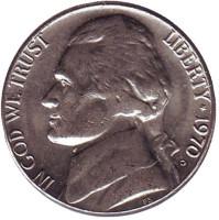 Джефферсон. Монтичелло. Монета 5 центов. 1970 год (D), США.