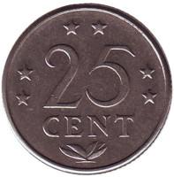 Монета 25 центов, 1970 год, Нидерландские Антильские острова.