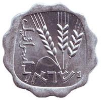 Ростки овса. Монета 1 агора. 1967 год, Израиль. UNC.
