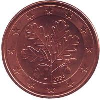 Монета 5 центов. 2004 год (F), Германия.