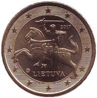 Монета 10 центов. 2017 год, Литва.