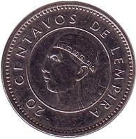 Монета 20 сентаво. 2010 год, Гондурас.