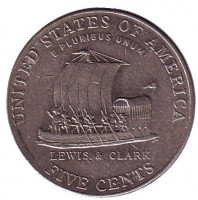 Корабль экспедиции Льюиса и Кларка. Монета 5 центов (D), 2004 год, США. Из обращения.