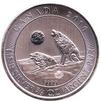 Серый волк. Вой волков. Монета 2 доллара. 2016 год, Канада.