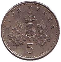 Монета 5 пенсов. 1991 год, Великобритания.