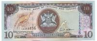 Банкнота 10 долларов. 2006 год, Тринидад и Тобаго.