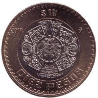 Тонатиу. Ацтекский солнечный камень. Орёл. Монета 10 песо. 2018 год, Мексика. UNC.