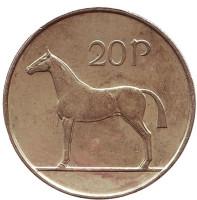 Лошадь. Монета 20 пенсов. 1996 год, Ирландия.