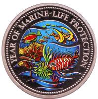 Год защиты морской жизни. Монета 1 доллар. 1992 год, Палау.