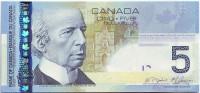 Сэр Уилфрид Лорье. Банкнота 5 долларов. 2008-2010 гг., Канада.