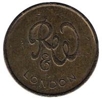 Игровой жетон британской компании Ruffler & Walker. RW. London. (Диаметр 21 мм)