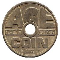 Age coin. 16+ only. Возрастной контроль. Торговый жетон для покупки табачной продукции.