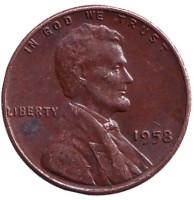 Линкольн. Монета 1 цент. 1958 год (P), США.