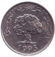 Дуб. Монета 5 миллимов. 1993 год, Тунис.