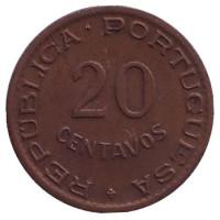 Монета 20 сентаво. 1949 год, Мозамбик в составе Португалии.