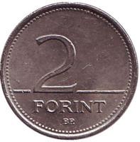 Монета 2 форинта. 1993 год, Венгрия.
