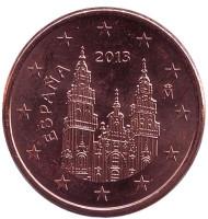 Монета 5 центов. 2013 год, Испания.